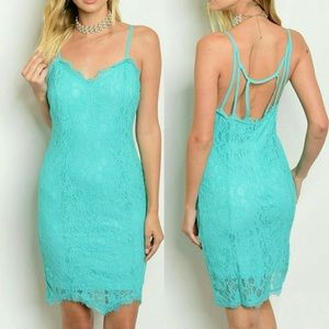Dresses & Skirts - NEW ARRIVAL !! Turquoise Lace Bodycon Dress